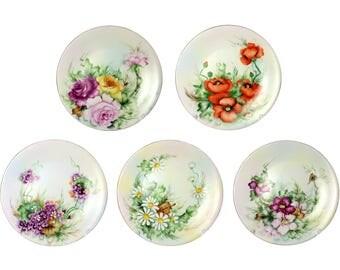 Antique 5 Charles Ahernfeldt Limoges Floral Plates Hand Painted France