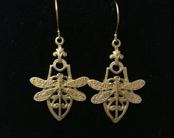 Small raw brass dragonfly earrings-gold filled French hook earrings-bright gold-2 inches