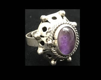 Vintage sterling & amethyst poison ring - Mexican silver- adjustable size 6