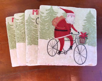 Coaster Set-Santa Coaster Set-Travertine tiles-Christmas Decor- Deer & Santa Coaster set-Farmhouse Decor-Wedding gift