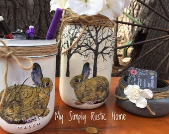 Mason Jar Bunny Desk Set-Desk Set-Nursery Mason Jar Office-Desk Organizer-Mason Jar Office Set-Office -Desk Decor-Desk Set-business card jar