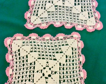 Pair Vintage Cream Crochet Squares with Pink Edge