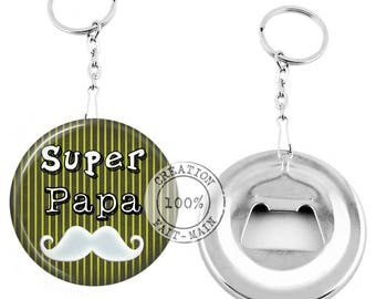 Keychain bottle opener - SUPER dad - personalized gift Message
