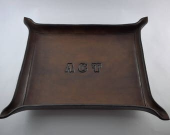 "Personalized Leather Valet Tray - 8"" x 10"""