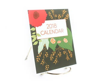 2018 Desk Calendar with stand, Botanical Calendar, Seasonal flowers, Colorful calendar, hand drawn, small desk calendar, mini calendar