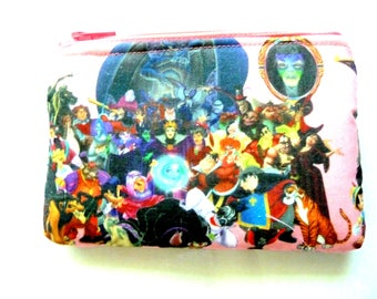 New! pouch with villains and cartoon characters