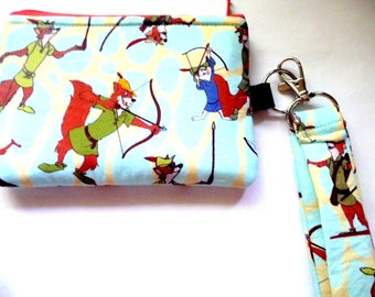 New! coin purse/ wrist let  with carton fox made from cartoon fabric