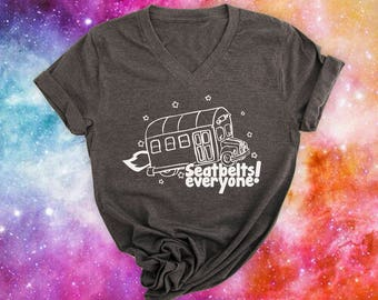 Magic School Bus tshirt SEATBELTS charcoal black Miss Frizzle quote tshirt frizzle magic school bus shirt Science tee shirt Nerdy tee shirt