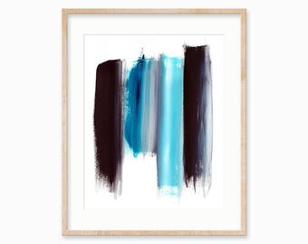 Black Blue Abstract Brush Strokes, Instant Download