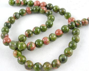 62 natural 6 mm unakite beads