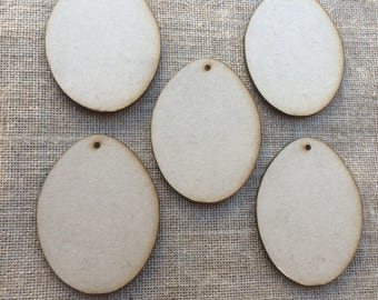 5 x 9.5 cm x 7 cm x 3 mm MDF Egg Shapes with 3 mm Holes  Unfinished, Wooden Egg Shapes, Easter.