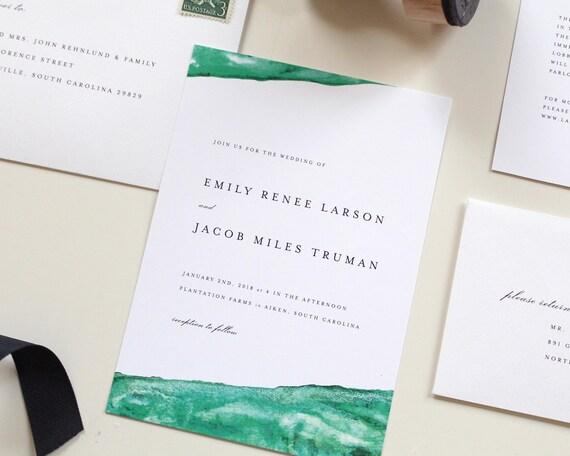 Emerald Green Wedding Invitation Emerald Wedding Theme Green