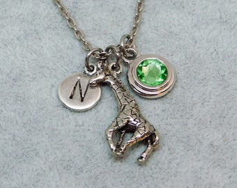 Giraffe necklace, swarovski birthstone, initial necklace, birthstone necklace, initial charm