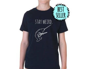 Stay Weird Banjo Playing Narwhal Kids T-Shirt, Tri-blend, Comfortable. Funny Gift. Shirts with Sayings. Navy
