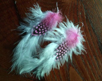Guinea feather earrings