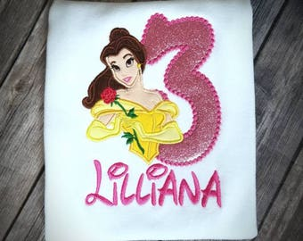 Belle from Beauty and the Beast birthday shirt. Pick your colors!!