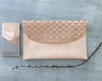 Hand-woven leather bag, clutch, ipad case (Free shipping within the UK)