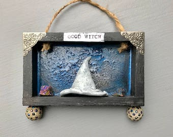Good Witch, Witch Art, Assemblage Art, Mixed Media, Shadowbox, Witch Hat ,