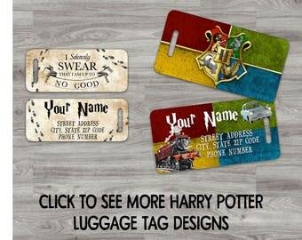 Harry Potter Luggage Tags Hogwarts Marauder's Map Gryffindor Slytherin Hufflepuff Ravenclaw Snape Voldemort Platform 9 3/4 Fantastic Beasts
