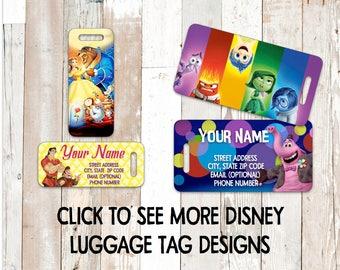 Disney Luggage Tags with Strap  Disney Pixar Bambi Fantasia Snow White Tangled Brave Inside Out Cars Lion King Mulan Pocahontas Moana Up