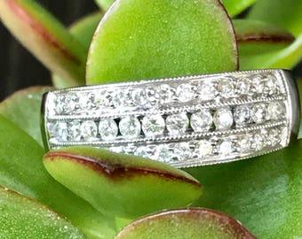 Diamond Band Ring, Diamond Anniversary Band, Wide Diamond Band, Wide Band Rings,
