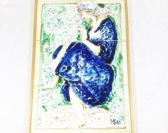 Beautiful Vintage Hand Painted Tile Serving Tray Vintage Tiles Flute Tile Music Tiles Music Serving Tray