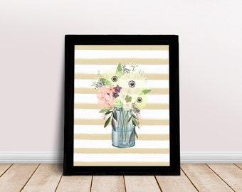 Spring Jar Print | Mason Jar Art, Floral Jar Art, Mason Jar Wall Art, Mason Jar Painting, Printable Mason Jar, Flowers in Jar Print