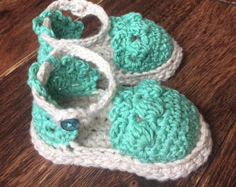 Espadrille Sandals with Button Strap, Baby, Crochet