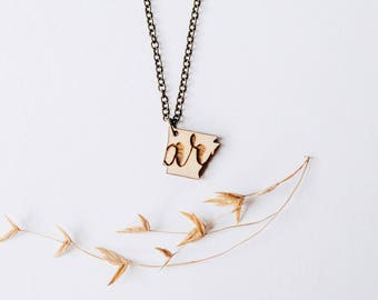"Arkansas ""AR"" Engraved Necklace, Laser Cut Wood Charm, Arkansas State Necklace, State Shape Necklace, Arkansas State Pride"