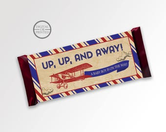 Vintage Airplane Candy Bar Wrappers   Candy Wrappers   Printable Party Supplies   Baby Shower Candy Wrapper   Baby Shower Party Decor