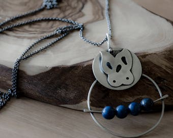 Lapis Lazuli Sterling Silver Necklace- Butterfly In The Woods - Lapis Lazuli beads, Round, Silver, Butterfly, Woods, Nature