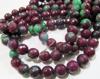 AAA Quality Red & Green Ruby Zoisite Round Faceted Beads / Size 10mm /Sold Per Strand Of 16 inches Long/33 Approx Beads/Semi Precious Stones
