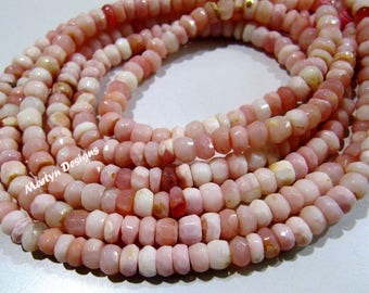 AAA Quality Genuine Pink Opal Rondelle Faceted Beads , Natural Pink Opal Beads 4-5 mm , Strand 13 inches long , Semi Precious Gemstone Beads