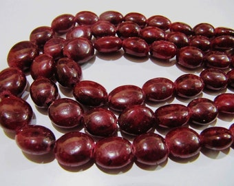 AAA Quality Natural Ruby Corundum Oval Smooth Beads , Size 7x9 to 10x13mm Plain Beads , Strand 8 Inches Long , Hole Size- 1mm