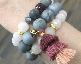 "Set of 3 ""Grayson"" jade and druzy agate beaded bracelets with triple tassel accent • Fast and free shipping"
