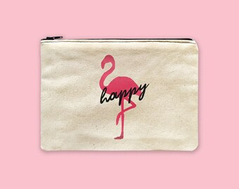 Canvas Zipper Bags with Sayings, Flamingo Accessories, Pink Makeup Bags Personalized, Painted Coin Purse Women, Pencil Pouch, Cosmetic Bags
