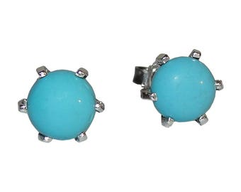 Sterling Silver and Turquoise Cabochon Stud Earrings