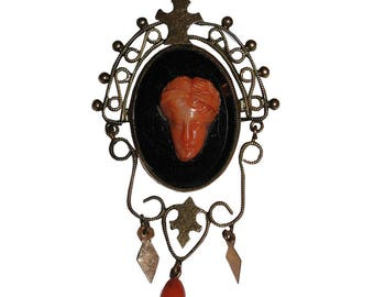 14 kt Rolled Gold, Brass Victorian Carved Sardinian Red Coral Cameo Brooch