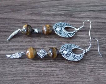Ethnic earring Pearl semi precious healing Tiger eye