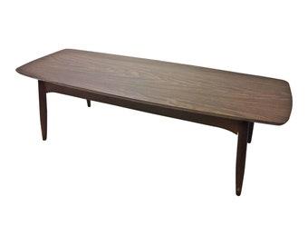 Danish Modern COFFEE TABLE wood mid century vintage surfboard retro lane 1960s living room brown laminate mcm tapered legs