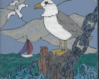 Sea Gull #008 Hand Painted Kiln Fired Decorative Ceramic Wall Art Tile 6 x 6