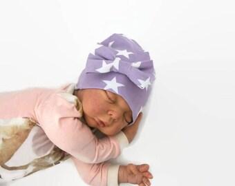 purple baby beanie, baby hat, star baby beanie, baby beanie, organic baby beanie, newborn photo prop, newborn beanie, organic baby hat