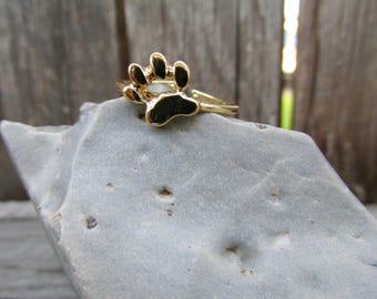 Paw Print Ring, Pawprint Ring, Cat Lovers Gift, Dog Lovers Gift, Animal Ring, Dog Ring, Cat Ring, Adjustable Paw Print Ring