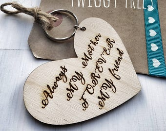 Wooden Heart Always Mother Forever Best friend Mothers Day Birthday Christmas  Engraved Keyring Gift mummy mum