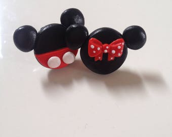 mickey mini mouse polymer clay earrings
