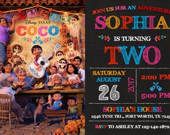 Coco Invitation, Coco Birthday, Coco Party, Disney Coco Invitation
