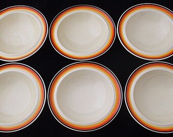 Six Clarice Cliff Bizarre Striped / Banded Bowls - 1930's Art Deco (6)