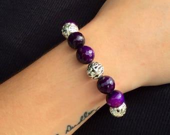 Black Purple Silver Bead Bracelet