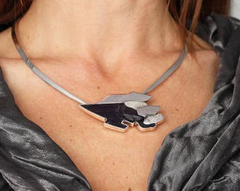 stunning silver and slate, OOAK necklace
