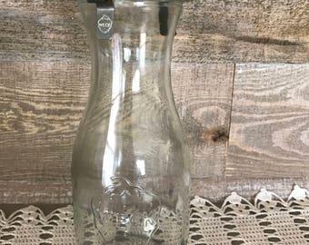 WECK Round Glass Milk Bottle Vintage Complete